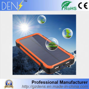 Waterproof Flashlight Solar 10000mAh Dual USB Power Bank pictures & photos