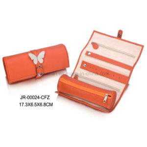 Round Shape Oragne Leather Portable Jewellery Packaging Jewelry Roll