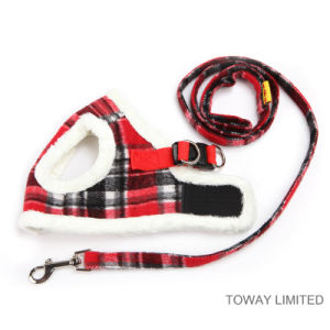 Wholesale England Style Grid Velvet Warm Pet Harness with Leashes pictures & photos