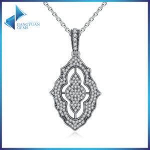 925 Sterling Silver Sparkling Lace Pendant Necklace, Clear CZ Pendant Necklace pictures & photos