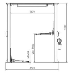Asymmetric Column Clear Floor Lift -2 Post Car Lift (ORL-32CB) pictures & photos