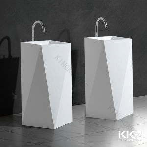Solid Surface Stone Resin Bathroom Free Standing Washbasin (170905) pictures & photos