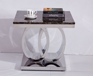 Modern Marble Beside Table with Rings Shape Metal Base pictures & photos