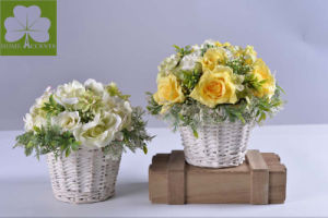 Plastic Flowers Hydrangea with Rose in Rattan Basket Home Decoration pictures & photos