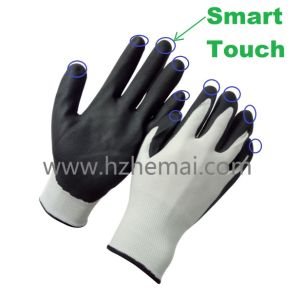 Smart Touch Ultra Thin Micro Foam Nitrile Coated Work Glove pictures & photos
