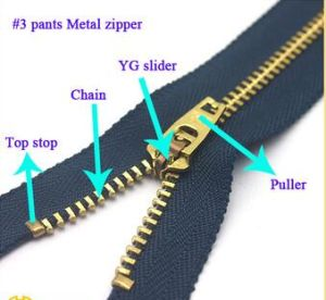 Metal /Brass /Alu Zipper, One Ways Open End Metal Zipper for Garments pictures & photos
