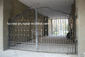 Haohan High-Quality Exterior Security Decorative Wrought Iron Fence Door 6 pictures & photos