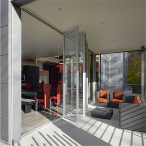 Interior Aluminum Tempered Glass Folding Door System pictures & photos