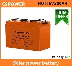 Cspower 6V200ah Solar Gel Battery for Street Light, China Manufacturer pictures & photos