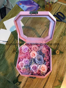 Glass Cover Fresh Preserved Rose Flower Immortal Color Rose Girl Wedding Gift pictures & photos