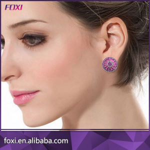 Ruby Cubic Ziconia Round Pizza Earring Brincos Zirconia pictures & photos