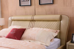 Shunde Home Bedroom Furniture Modern Leather Soft Bed with Headboard pictures & photos