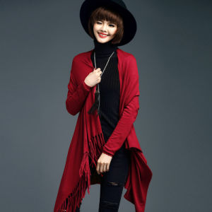 Lady Fashion Viscose Nylon Knitted Fringe Cardigan Sweater (YKY2069) pictures & photos