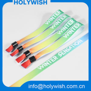 Good Price Polyester Material High Secure Fabric Disposable Wristband pictures & photos