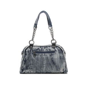 Fashionable Cowgirl Rivets Denim Boston Ladies Bag (MBNO042135) pictures & photos