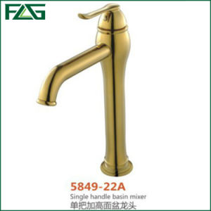 Flg Golden Finished Single Handle Basin Mixer Faucet Tap (Heightening) pictures & photos
