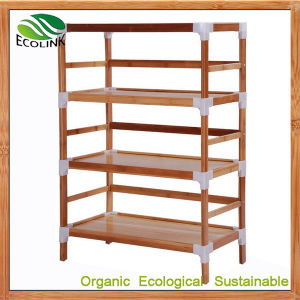Bamboo 4-Tiers Storage Shoes Rack Shelves pictures & photos