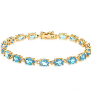 14k Gold Over Sterling Silver Gemstone Tennis Style Bracelet with Blue Topaz pictures & photos