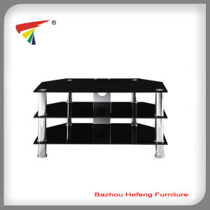 Living Room Furniture/3 Tier Black Glass TV Stand (TV104) pictures & photos