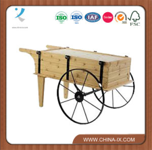 Wooden Flower Display Cart with Steel Wheels pictures & photos