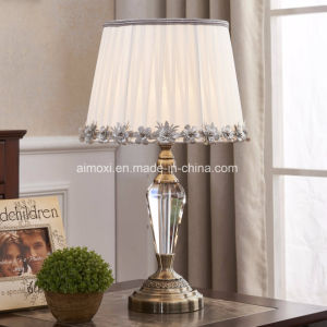 Table Lamp with Fabric Shade, Crystal / Metal Base