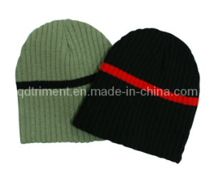 Contrast Strip Winter Warm Acrylic Knitted Beanie Hat (TRK022) pictures & photos