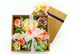 Gold Flower Packing Box/ Gift Box/ Storage Box with Black Ribbon