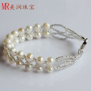 2 Rows Fashion Freshwater Handmade Pearl Bracelet (EB1516-1) pictures & photos
