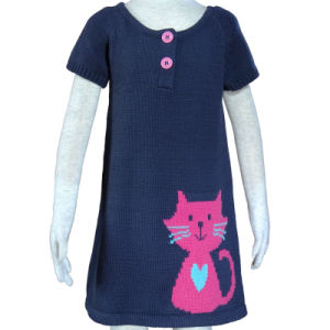 Girl′s Sweater Dress with Button and Cat, Children′s Knitting Sewater 100%Cotton