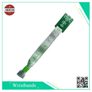 Qr Code RFID Woven Wristband with PVC Label pictures & photos
