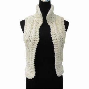 Lady′s Hand-Knitted Turtleneck Sleeveless Cardigan (C003)