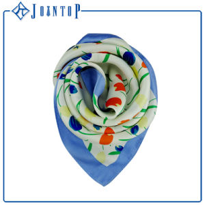 ODM Floral Hand Roll-Hemmed Fashion Chiffon Square Scarf Shawl pictures & photos