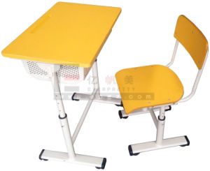 Hot Sale Student Furniture Square Tube Adjustable Single Desk&Chair pictures & photos