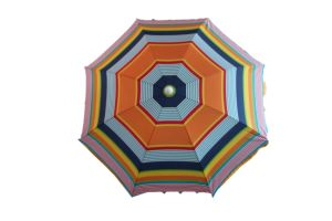 6.5FT Beach Umbrella, Sripe Polyester Fabric, Deluxe Umbrella, Polyester with Sliver