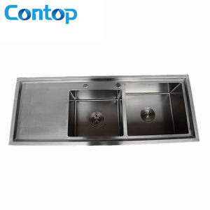 SUS 304 Handmade Kitchen Sink Double Sink with Drainer pictures & photos
