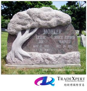 Nature Granite European Style Monument/Tombstone with Hand Caved