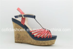 Fashion Wedge Heel Lady Sandal with Charming Design pictures & photos