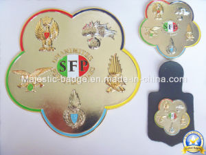 3D Gold Plating Soft Enamel Badge with Leather Accessory pictures & photos