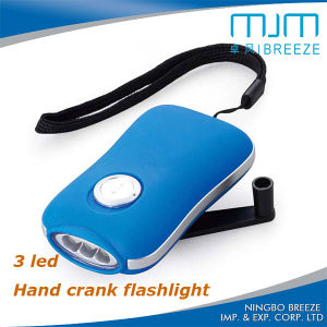 ABS Rubber Paint Spraying 3 LED USB Hand Crank Dynamo Flashlight pictures & photos