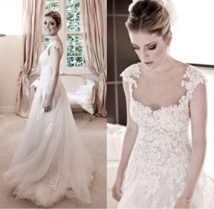 Cap Sleeves Bridal Gowns Lace Tulle Simple Sweetheart Wedding Dress Hw2016 pictures & photos