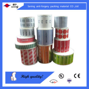 Adhesive Security Sticker Label/Total Transfer Label Sticker/Anti Counterfeit Void Seal Sticker Label