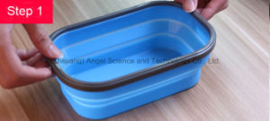 800ml Folding Silicone Food Storage Silicone Food Box Sfb11 pictures & photos