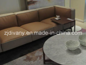 Modern Beige Leather Sofa Modern Home Sofa (D-73-C) pictures & photos