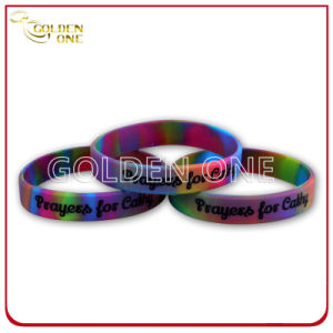 Personalized Colour Mixture Silk Screen Embossed Rubber Wristband pictures & photos