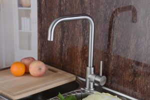 304 Stainless Steel Kitchen Sink Faucet Single Handle Robinet (HS15005) pictures & photos