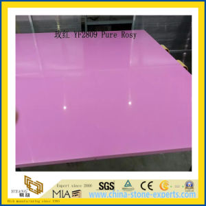 Polished Pure Rosy Artificial Quartz Slabs for Kitchen Countertops (YQC) pictures & photos