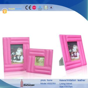 Rectangle Custom Lovely Leather Pink Photo Frame (3537R1) pictures & photos
