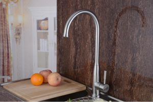 Single Handle Goose Neck Stainelss Steel Kitchen Faucet Kitchen (HS15007) pictures & photos