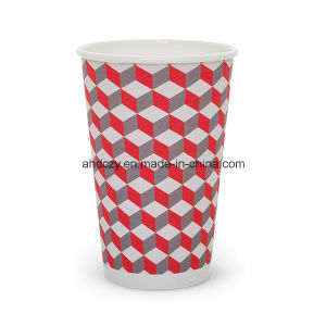 Factory Wholesale 16oz Red Plaid Paper Cup for Hot Drink pictures & photos