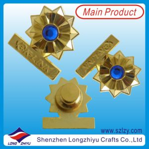 Zinc Alloy Gold Logo Fancy Garment Badge with Diamonds (LZY-10000373) pictures & photos
